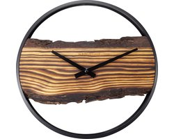 NeXtime - Forest 30cm Hout/ Metaal- Klok Silent