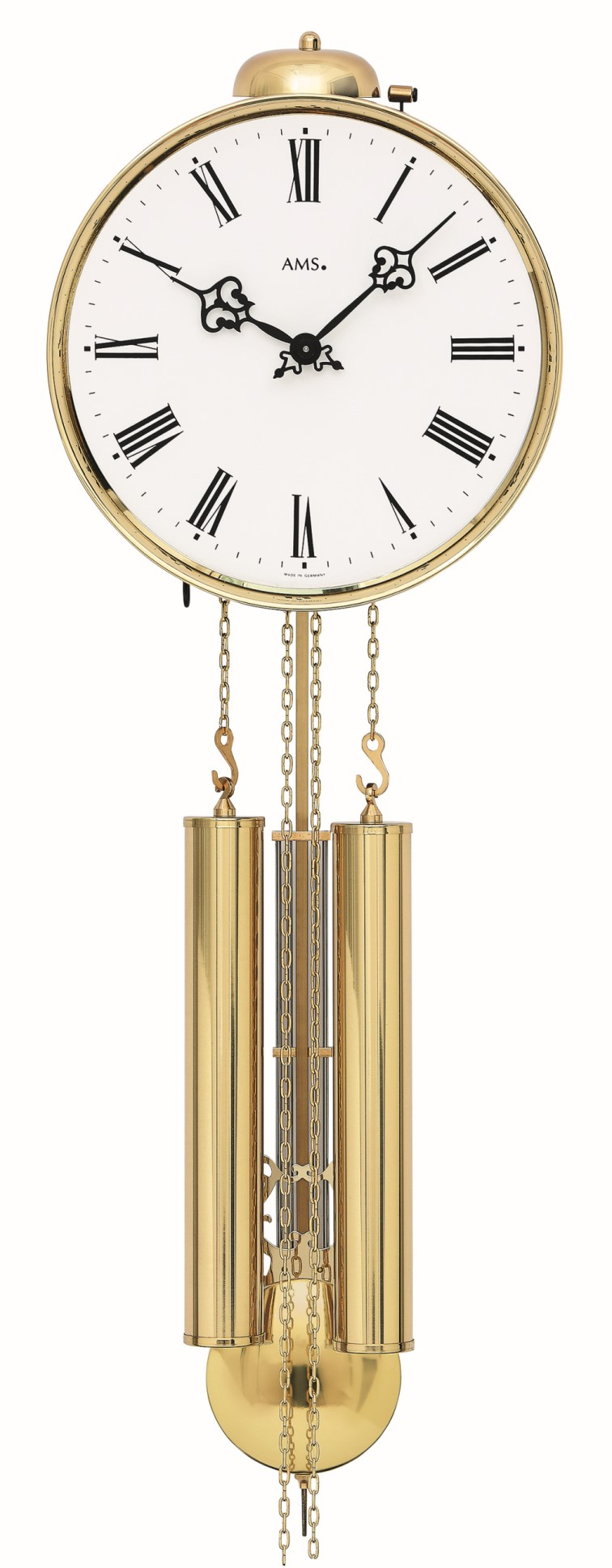 AMS 348 brass mechanical wallclock with strike