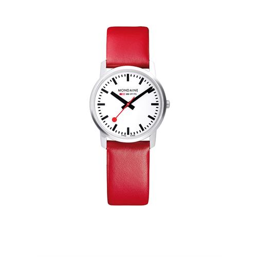Mondaine watch Simply Elegant with red band