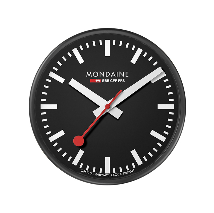 Mondaine official railway clock A990.CLOCK.64SBB black