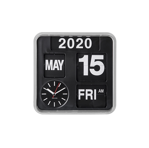 Karlsson Wall Clock Mini Flip, silver/black
